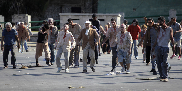 "Extras made up as zombies act during the filming of the movie ""Juan de los muertos"" or ""Juan of the dead"" in Havana"