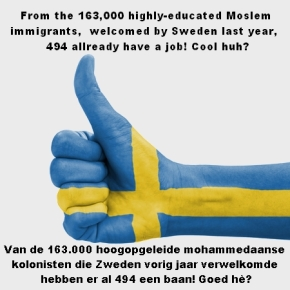 Hand with thumb up, Sweden flag painted as symbol of excellence, achievement, good - isolated on white background