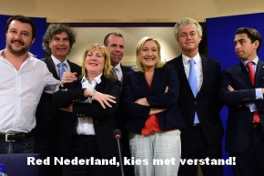 2015-06-16 11:34:33 France's far-right National Front (FN) party leader Marine Le Pen (3rd R) poses after a press conference at the European Parliament in Brussels, June 16, 2015, with European Parliament members including (L-R) Matteo Salvini of Italy's Lega Nord, Marcel De Graaff of the Netherlands' Party for Freedom (PVV), Janice Atkinson of the UK, Harald Vilimsky of Austria's Freedom Party (FPO), Le Pen, Geert Wilders of the Netherlands' Party for Freedom (PVV) and Tom van Grieken of Belgium's Vlaams Belang, following the announcement of a new grouping of European far-right parties, called Europe of Nations and Freedom.  AFP PHOTO / EMMANUEL DUNAND