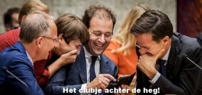 2016-09-22 22:31:17 DEN HAAG - (vlnr) Henk Kamp, Lilianne Ploumen, Lodewijk Asscher en premier Mark Rutte tijdens de Algemene Politieke Beschouwingen, die traditioneel volgen op Prinsjesdag. ANP REMKO DE WAAL